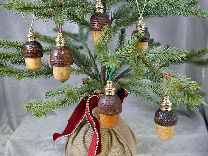 "Cherry and Walnut ""Acorn"" Ornaments"
