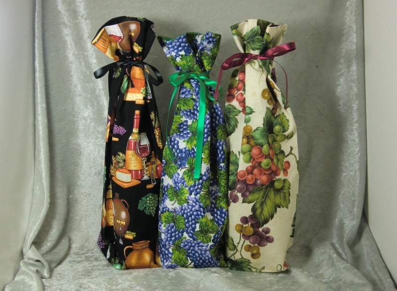 Wine Themed Fabric Gift Bags
