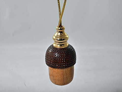 Cherry and Walnut Acorn Ornament