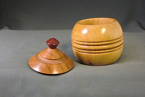 Turned Maple and Cherry Lidded Box