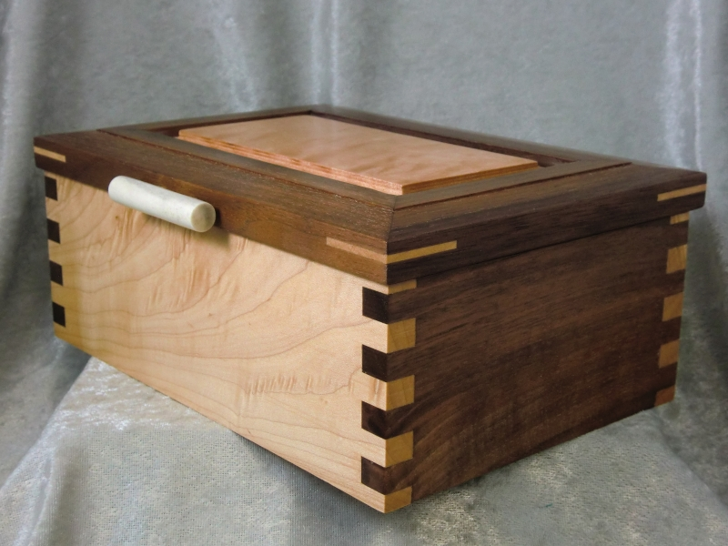 Figured Maple And Walnut Box With Hinged Lid Ted S Woodshop